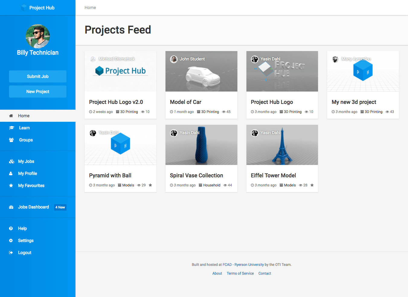 Projects Feed page showing several items shared by users in a card grid layout